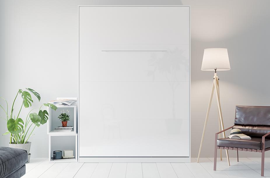 SMARTBett Folding Wall Bed Standard 140x200 Vertical White